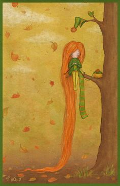 """Саша Салмина (Sasha Salmina), """"осень"""" (""""Autumn"""").  To knit or not to knit a scarf as long as my hair . . . (To.)"""