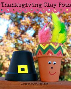 Thanksgiving Clay Pots: Create Pilgrim and Native American clay pots to use as decorations or place card holders.  This is a great craft for kids.  #thanksgiving #crafts