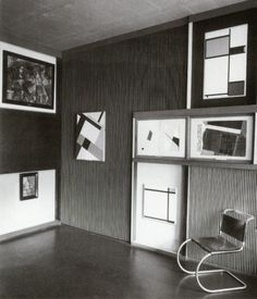 El Lissitzky (1927-8) abstract cabinet with works by Piet Mondrian, Mies van der Rohe and others Landesmuseum Hanover Altshuler 238.