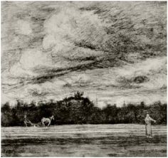 'Field with Thunderstorm' Vincent van Gogh. Drawing, Pencil, black chalk, washed, heightened with white. Etten: September, 1881.