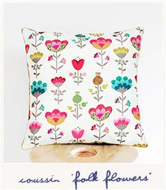 Folk flowers cushion