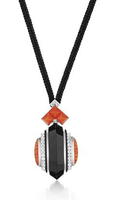 AN ART DECO DIAMOND, ONYX AND CORAL PENDANT, BY RENE BOIVIN - Designed as a sculpted onyx pendant of geometric motif, with circular-cut diamond and cabochon coral detail, mounted in platinum, 1928.