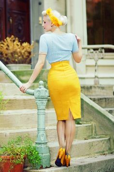 Brand of the Day is: Secrets in Lace ▶▶▶ http://pinup-fashion.de/653/secrets-in-lace/ ---- #rockabilly #rockabillygirl #rockabella #vintage #vintagegirl #retro #retrogirl #skirt #yellowskirt #vintagefashion #vintagehair #nylons #heels #highheels #vintagehair #rockabillyhair #yellow