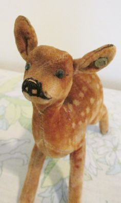 I see a lot of animal collectibles at estate sales. Few, however, are as appealing as this little Steiff fawn. It came from the estate of. Retro Toys, Vintage Toys, German Toys, Antique Teddy Bears, Steiff Teddy Bear, Baby Deer, Dinosaur Stuffed Animal, Stuffed Animals, Plush Animals