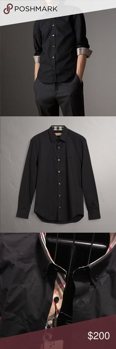 Burberry Men's button up Brand new with tags Men's Burberry Check Detail Stretch Cotton Poplin Shirt.  Item number 39911621 on the Burberry website. Please note that Burberry sizes run small so a medium will best fit as a small. Burberry Shirts Dress Shirts