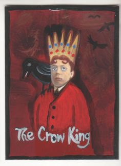 Crow King small original US outsider artist brut painting mixed media children #NaivePrimitive