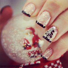 Christmas nails, black xmas tree, sparkly.  black french. nail art