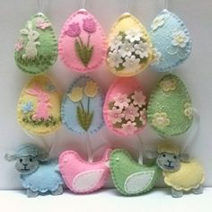 Felt easter decoration felt eggs with flowers pastel colors by DusiCrafts