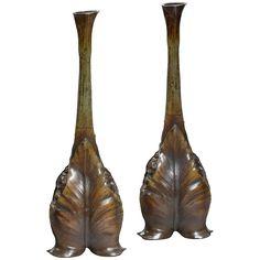 Pair Of Art Nouveau Bronze Vases In The Manner Of L M Maurel