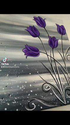 Cute Canvas Paintings, Easy Canvas Art, Canvas Painting Tutorials, Easy Canvas Painting, Painting Techniques, Diy Painting, Purple Painting, Acrylic Painting Flowers, Tulip Painting