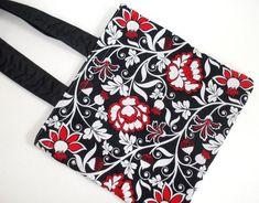Floral Black Red Tote Bag. Light Traveler Bag. Overnight Bag. Gym Bag. Commuter Bag.