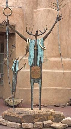 Metal sculptures outside an art gallery in Santa Fe.