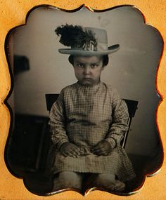 1 6 Plate Daguerreotype Boy in Large Blue Tinted Hat with Feather Plume RARE | eBay