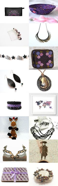 Lovely Etsy Treasury by Fibernique with unique handmade pouch by Whimzingers.....  Cute Violet Desk Accessory Bowl.... Purple and Friends by Julia on Etsy--Pinned+with+TreasuryPin.com