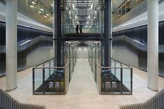 Lift lobby of the St Botolph Building in London by Grimshaw Architects
