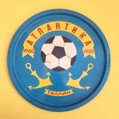 Vintage USSR Soviet Era Football and Anchor Drinks Tray Metal Soccer Retro Footy Sports Sport Retro Tallinn 1960-1980 Blue Yellow Bright by TheFidorium on Etsy