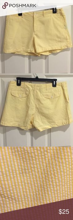 """Polo Yellow Seersucker Shorts EUC Polo shirts. They are probably a 3""""-5"""" length shorts. The seersucker is a great traditional fabric that will never go out of style. Ralph Lauren Shorts"""