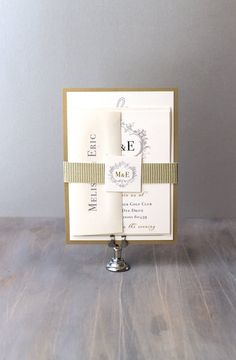 Antique Glitter - Elegant Gold Wedding Invitations #beaconlane