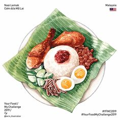 Comida Coreana Korean Food - - - Food Menu With Pictures - Nasi Lemak, Food Design, Cute Food, Yummy Food, Food Art Painting, Food Sketch, Food Cartoon, Watercolor Food, Malaysian Food