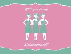Will You Be My Bridesmaid Card. Choose the colours you want and download for free! #bridesmaidinvitation #bemybridesmaid #weddings