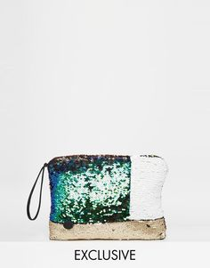 Story Of Lola | Story of Lola Sequin Clutch Bag in Color Block at ASOS