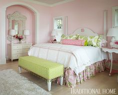 """The master bedroom, with Benjamin Moore's """"Pleasing Pink"""" on the walls is certainly that."""