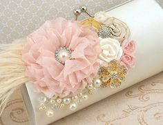 Bridal Clutch  Party Clutch in Ivory Gold Champagne by SolBijou, $130.00