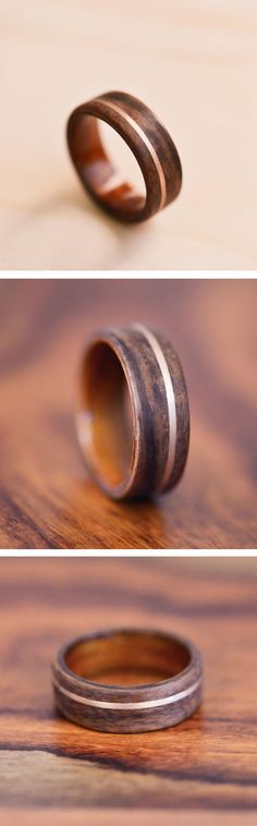 Rose Gold Inlay in Santos Rosewood Bentwood Ring