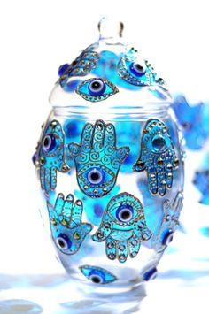 Hand Painted Glass Jar with Lid, Khamsa  חמסה חמסה ...טפו טפו טפו...מלח מים מלח מים..בלי עין הרע