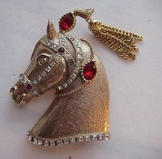 Vintage R. Mandle Circus Horse Pony Head BIG Rhinestone Tassel Brooch Pin