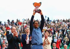 Princess Charlene and Prince Albert at Monte-Carlo Sporting Club present the trophy to Nadal