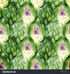 Seamless pattern of watercolor drawings of artichokes: whole and cut.