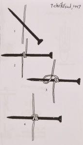 Nails as sewing keys for bookbinding