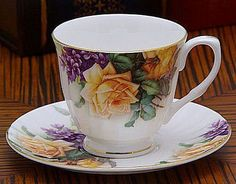 Yellow English Rose Teacup & Saucer