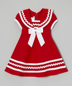Look at this Gerson & Gerson Red & White Sailor Dress - Infant, Toddler & Girls by Gerson & Gerson Mayb a cmas dress? great use of rickrack This lightweight frock's zipper back makes changing as easy as an ocean breeze. I bet I can recreate this one. Little Girl Outfits, Cute Outfits For Kids, Little Girl Dresses, Toddler Girl Dresses, Toddler Outfits, Toddler Girls, Infant Toddler, Vestidos Color Rojo, Girl Dress Patterns