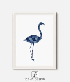 Flamingo Print Geometric Flamingo Blue Print by DamaDigitalDesign