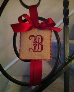 Cross Stitch Monogram Christmas ornament