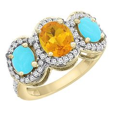 14K Yellow Gold Natural Citrine and Turquoise 3-Stone Ring Oval Diamond Accent, sizes 5 - 10 ** Special  product just for you. See it now! : Promise Rings Jewelry