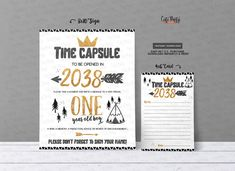 INSTANT DOWNLOAD Black and Gold Wild One First Birthday Time | Etsy Wild One Birthday Party, First Birthday Parties, First Birthdays, Printable Invitations, Party Printables, Cinema Party, Wild Ones, Time Capsule, Printed Materials