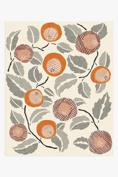 Inspired by Yumeji Takehisa,this Hana Tiger Orange rug displays a modern-retro floral motif in hues of orange and grey with accents of red. Washable Area Rugs, Machine Washable Rugs, 5x7 Rugs, 8x10 Area Rugs, Hana, Rose Gold Rug, Coral Rug, Turquoise Rug, Pink Rug