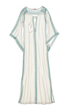 Embroidered Linen Jersey Caftan.