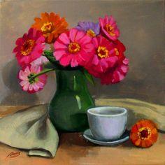 """ARTFINDER: """"Still life with summer flowers"""" by Lyubov Rasic -"""
