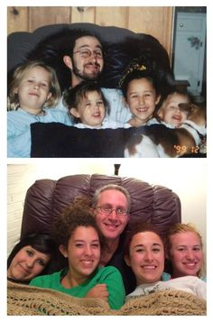 The Dye Girls & Dad 1999 and 2014. #thenandnow #familyphotos #recreated #restaged https://www.facebook.com/leslieannesphotography