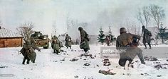 German infantrymen following a tank towards Moscow in the snow, Russia, 1941. Hitler launched the invasion of the Soviet Union, Operation Barbarossa, in June 1941. The Germans failed to capture Moscow due to a combination of Hitler diverting forces to other objectives in southern Russia and the early onset of a particularly harsh Russian winter. A print from the Signal, 1941. Signal was a magazine published by the German Third Reich from 1940 through 1945.