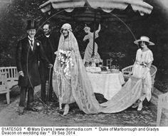 Duke of Marlborough and Gladys Deacon on wedding day. Cri Cri de Boisrouvray is train-bearer.