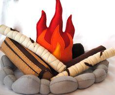 hand-made felt campfire