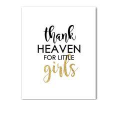 Baby Nursery Sign 8x10 - Black White Gold Glitter - Thank Heaven For Little Girls - Instant Download Printable