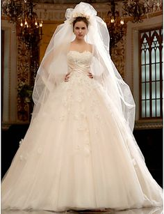 Beautiful A-line Sweetheart Cathedral Train Tulle Satin Wedding Dress