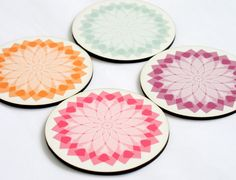coasters mandala round soft pastel turquoise orange pink purple set of 4 coasters gift under 25 on Etsy, $22.90