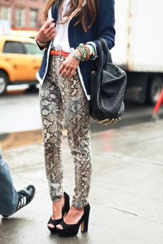 snake skin jeans, navy blazer, alexander wang bag, chunky peep toe pumps, orange belt, lots of bangles